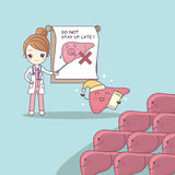 Cartoon doctor teach liver. To be health, great for health care concept Stock Images