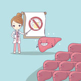 Cartoon doctor teach liver. To be health, great for health care concept Royalty Free Stock Images