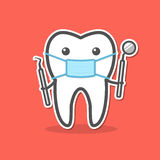 Cartoon doctor tooth in mask Royalty Free Stock Photography