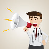 Cartoon doctor using megaphone Royalty Free Stock Photography