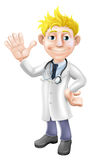 Cartoon doctor waving Stock Photo