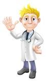 Cartoon doctor waving Stock Photo