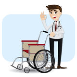 Cartoon doctor with wheelchair Stock Images