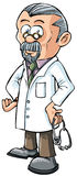Cartoon doctor in white coat. Stock Photos