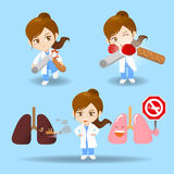 Cartoon doctor woman with cigarette. Cartoon set of doctor surgeon woman with cigarette royalty free illustration