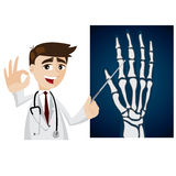 Cartoon doctor with x-ray film Royalty Free Stock Image