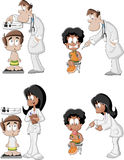 Cartoon doctors checking boy's Royalty Free Stock Images