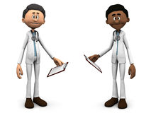Cartoon doctors holding clipboards. Two cartoon doctors wearing stethoscopes and holding clipboards or medical charts. White background Stock Photo