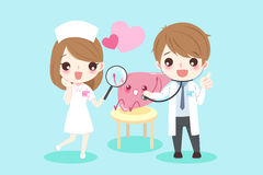 Cartoon doctors with liver. Cute cartoon doctors with liver for your health concept Stock Photo