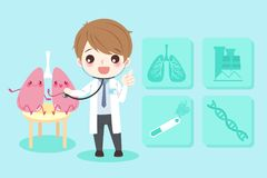 Cartoon doctors with lungs Stock Photos