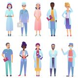 Cartoon Doctors. Medical workers team. Hospital staff set isolated. royalty free illustration