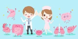 Cartoon doctors with organ stock illustration