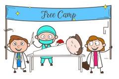 Cartoon Doctors Organizing Free Medical Checkup Camp Vector Concept. Design Stock Photography