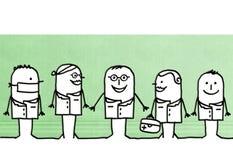 Cartoon doctors and scientists team. Illustration stock illustration