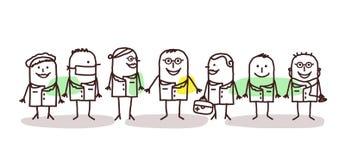 Cartoon doctors and scientists team. Vector cartoon doctors and scientists team Stock Photography