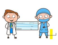 Cartoon Doctors Showing Salary Cheque Vector Illustration Royalty Free Stock Photo