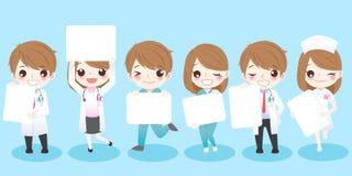 Cartoon doctors take billboard Stock Images