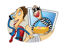 Cartoon Document Theft. Cartoon thief document in action when the employee was busy phone calls Royalty Free Stock Image