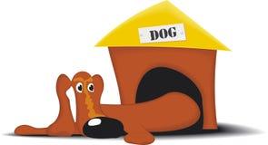 Cartoon dog. Lazy dog and doghouse on white background Royalty Free Stock Images