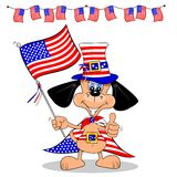 Cartoon Dog on 4th July. A cartoon dog celebrating 4th of July with flag and bunting Stock Images