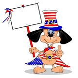 Cartoon Dog on 4th July. A cartoon dog celebrating July 4th with blank copy space sign vector illustration