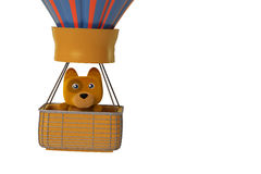 A cartoon dog in air balloon, 3D illustration. Stock Photography