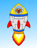 Cartoon dog astronaut in the space ship Royalty Free Stock Photo