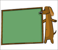 Cartoon dog with banner for text Stock Image