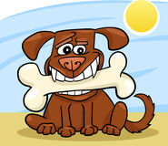 Cartoon Dog with big bone Royalty Free Stock Image