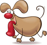 Cartoon dog with a big tongue out Royalty Free Stock Photo