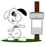 Cartoon Dog and Bin Royalty Free Stock Photo