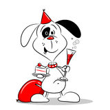 A cartoon dog at a birthday party Royalty Free Stock Image