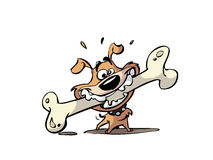 Cartoon of dog biting bone Stock Photo