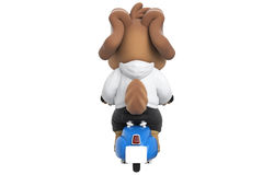 Cartoon dog blue scooter, back view Stock Photos