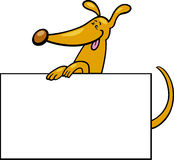 Cartoon dog with board or card Stock Photo