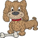 Cartoon Dog and Bone Royalty Free Stock Images