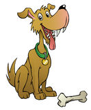 Cartoon dog with bone Royalty Free Stock Image