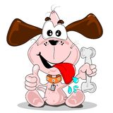 Cartoon dog with a bone Royalty Free Stock Photos