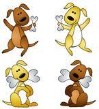 Cartoon Dog With Bone. An illustration featuring your choice of 4 cartoon dogs with bones in brown and gold - standing and sitting