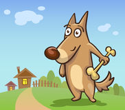 Cartoon dog with a bone on the background of rural areas Royalty Free Stock Photography
