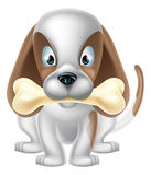 Cartoon Dog and Bone Stock Photography