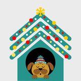 A cartoon dog in the booth. Vector illustration. Christmas card. A cartoon dog in the booth. Vector illustration royalty free illustration