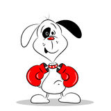 Cartoon Dog with Boxing Gloves Royalty Free Stock Images