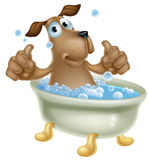 Cartoon dog in bubble bath. An illustration of a cute cartoon dog mascot character having a bath with lots of bubbles and doing a double thumbs up Stock Photography