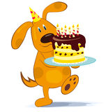 Cartoon dog with cake Stock Image