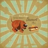 Cartoon Dog and Cake on Grunge Background Stock Image