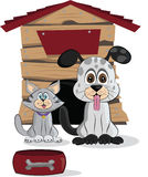 Cartoon dog and cat Royalty Free Stock Photography