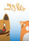 Cartoon dog and cat. Cute pets background. Banner my lovely pets Royalty Free Stock Image