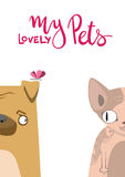 Cartoon dog and cat. Cute pets background. Banner my lovely pets Stock Photography
