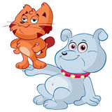 Cartoon dog and cat Stock Image